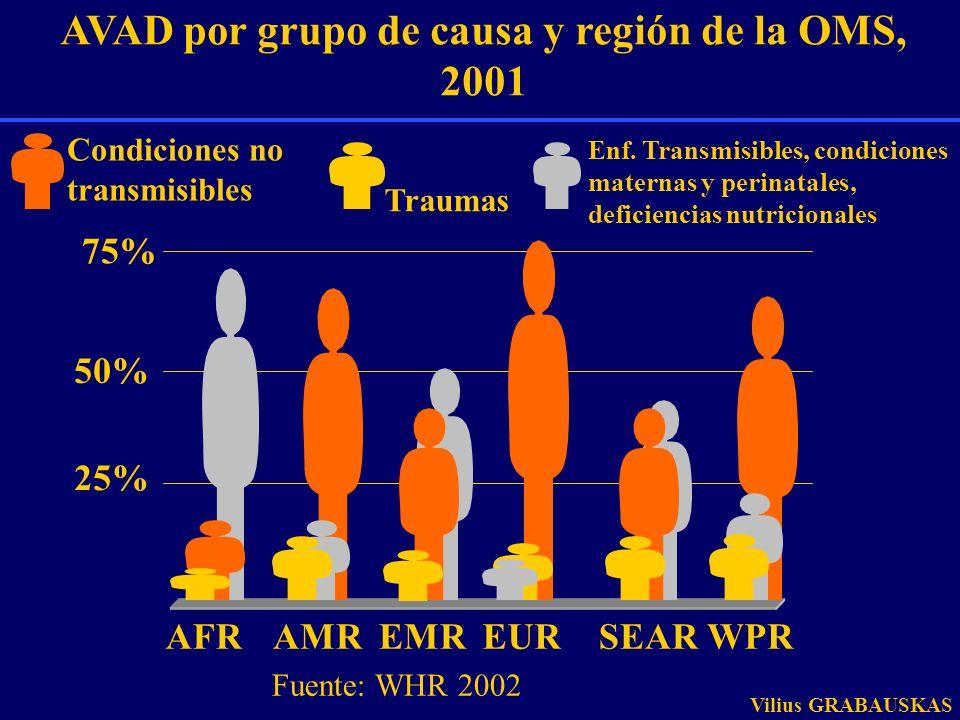 Distribución de causas de muerte en el mundo, 2001 Total de muertes: 56,554,000 Enfermedades cardiovasculares Diabetes Neoplasias malignas Enfermedades digestivas Desórdenes neuropsiquiátricos Enfermedades respiratorias Otras ENT Traumas Otras causas de enfermedades transmisibles Deficiencias nutricionales Condiciones maternas Malaria Enfermedades infantiles Tuberculosis Enfermedades diarreicas Condiciones perinatales VIH/SIDA Infecciones respiratorias Fuente: OMS 2002 Vilius GRABAUSKAS