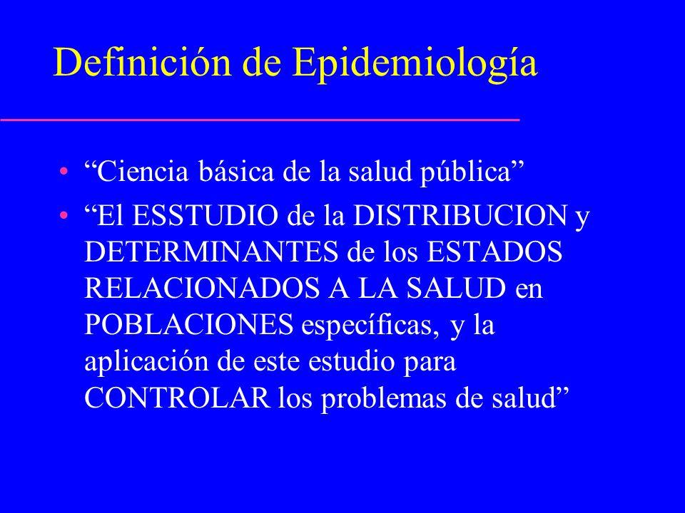 Definición de Epidemiología Ciencia básica de la salud pública El ESSTUDIO de la DISTRIBUCION y DETERMINANTES de los ESTADOS RELACIONADOS A LA SALUD e