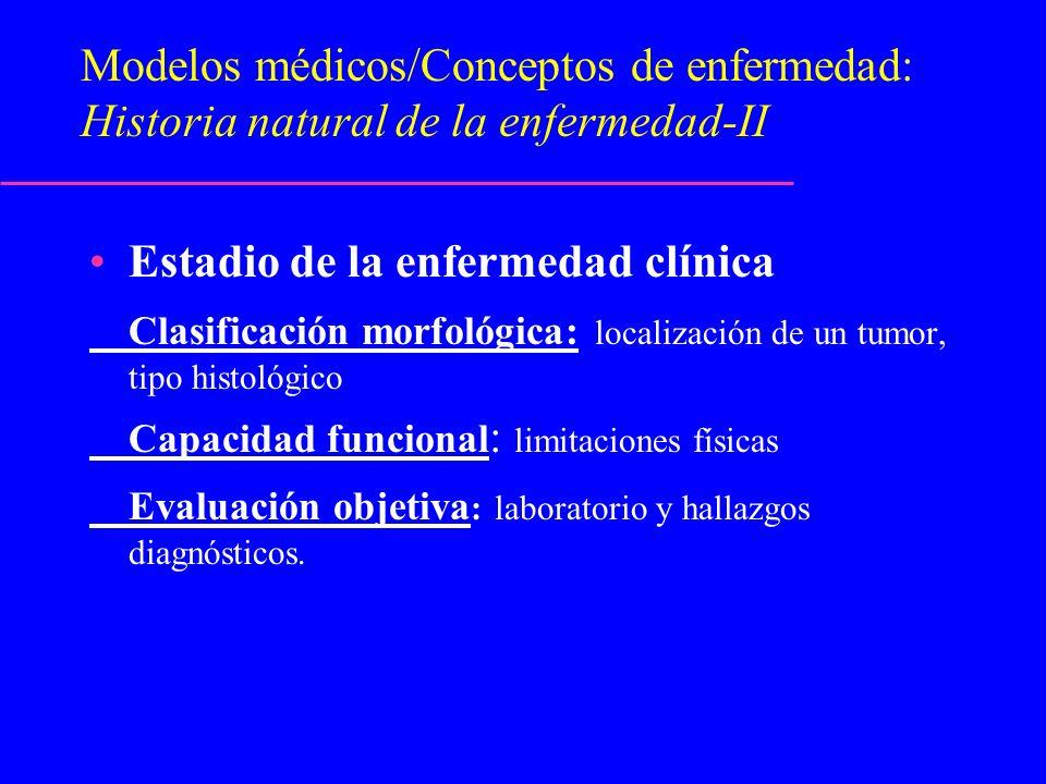 Modelos médicos/Conceptos de enfermedad: Historia natural de la enfermedad-II Estadio de la enfermedad clínica Clasificación morfológica: localización