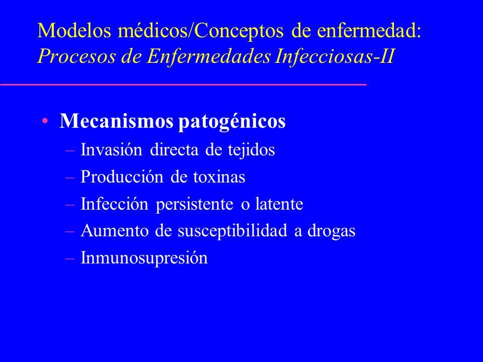 Modelos médicos/Conceptos de enfermedad: Procesos de Enfermedades Infecciosas-II Mecanismos patogénicos –Invasión directa de tejidos –Producción de to