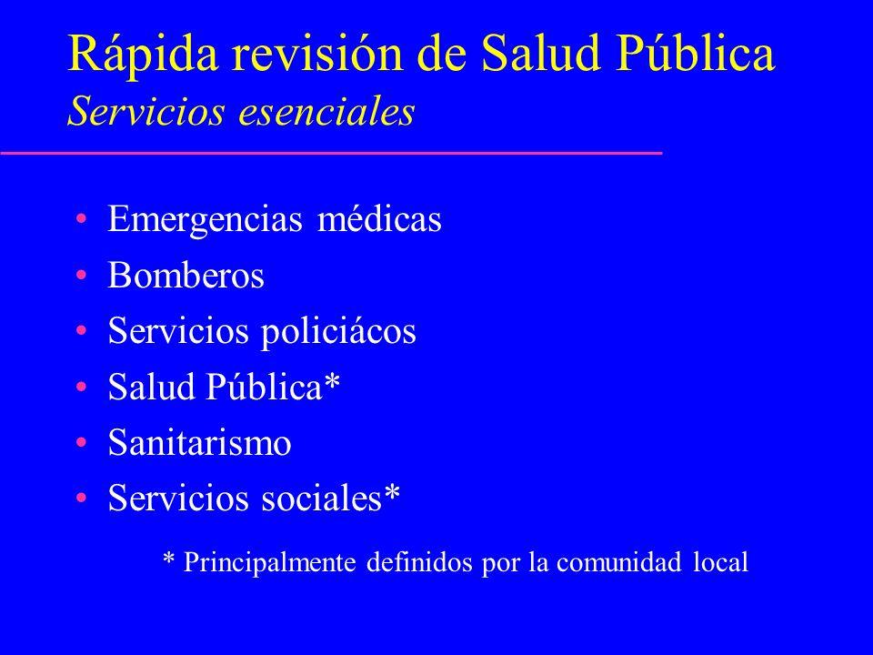 Rápida revisión de Salud Pública Servicios esenciales Emergencias médicas Bomberos Servicios policiácos Salud Pública* Sanitarismo Servicios sociales*