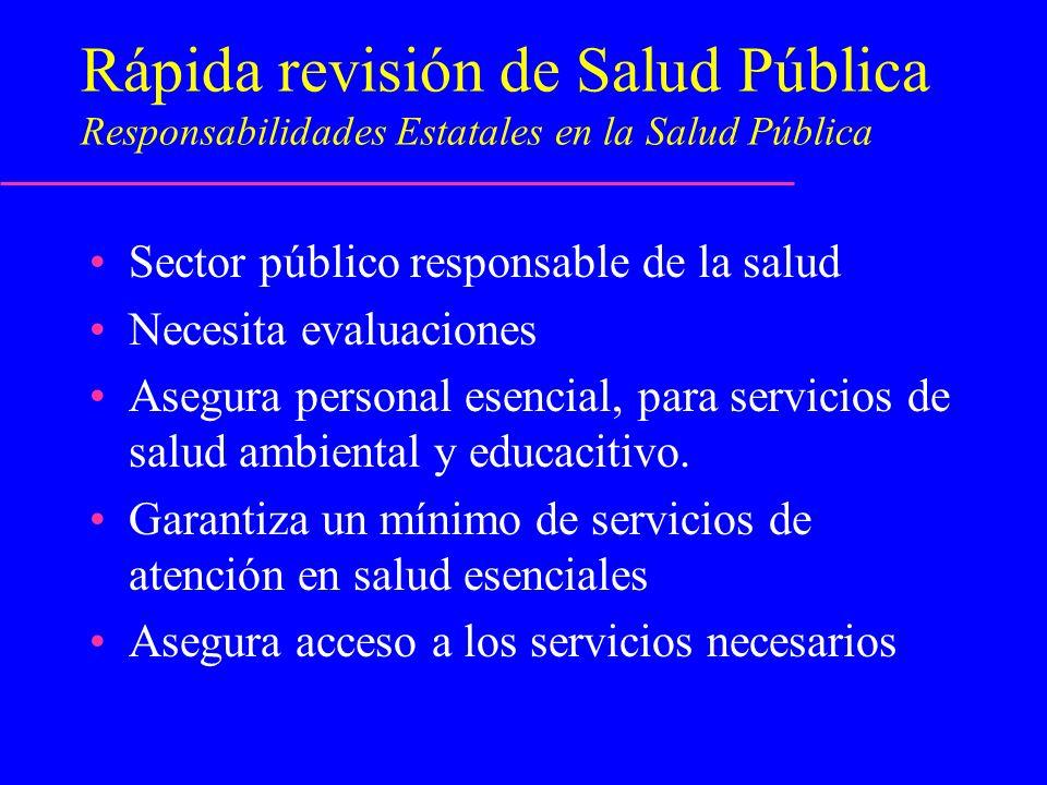 Rápida revisión de Salud Pública Responsabilidades Estatales en la Salud Pública Sector público responsable de la salud Necesita evaluaciones Asegura