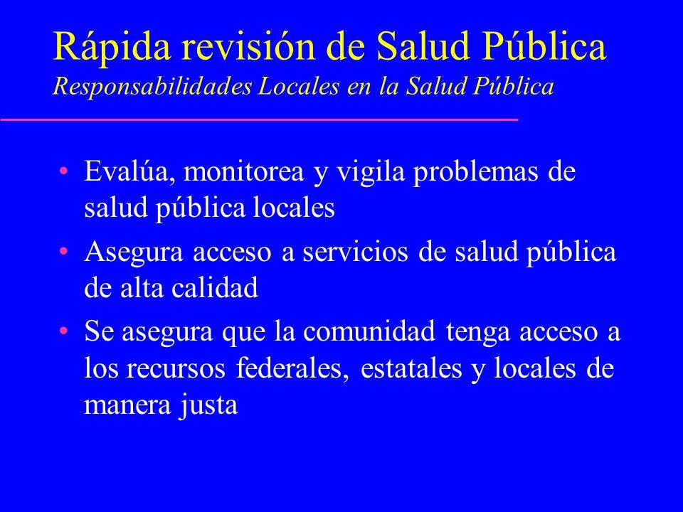 Rápida revisión de Salud Pública Responsabilidades Locales en la Salud Pública Evalúa, monitorea y vigila problemas de salud pública locales Asegura a