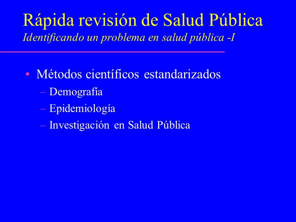 Rápida revisión de Salud Pública Identificando un problema en salud pública -I Métodos científicos estandarizados –Demografía –Epidemiología –Investig