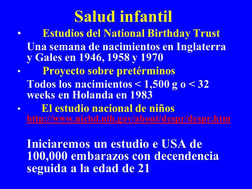 Salud infantil Estudios del National Birthday Trust Una semana de nacimientos en Inglaterra y Gales en 1946, 1958 y 1970 Proyecto sobre pretérminos Todos los nacimientos < 1,500 g o < 32 weeks en Holanda en 1983 El estudio nacional de niños http://www.nichd.nih.gov/about/despr/despr.htm http://www.nichd.nih.gov/about/despr/despr.htm Iniciaremos un estudio e USA de 100,000 embarazos con decendencia seguida a la edad de 21