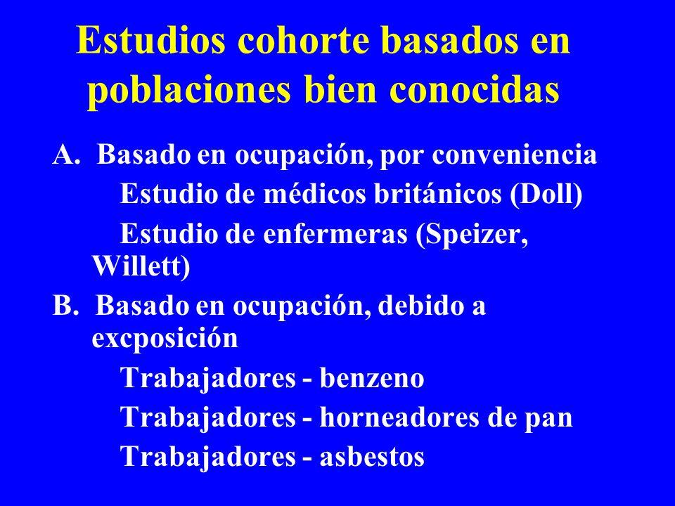 Estudios cohorte basados en poblaciones bien conocidas A. Basado en ocupación, por conveniencia Estudio de médicos británicos (Doll) Estudio de enferm