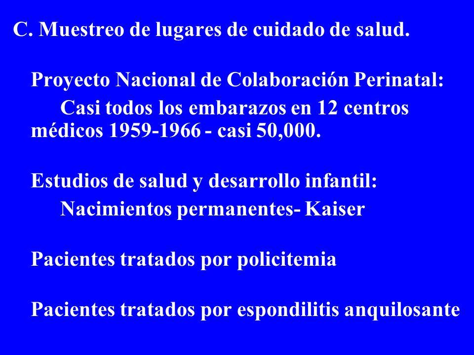 C. Muestreo de lugares de cuidado de salud. Proyecto Nacional de Colaboración Perinatal: Casi todos los embarazos en 12 centros médicos 1959-1966 - ca