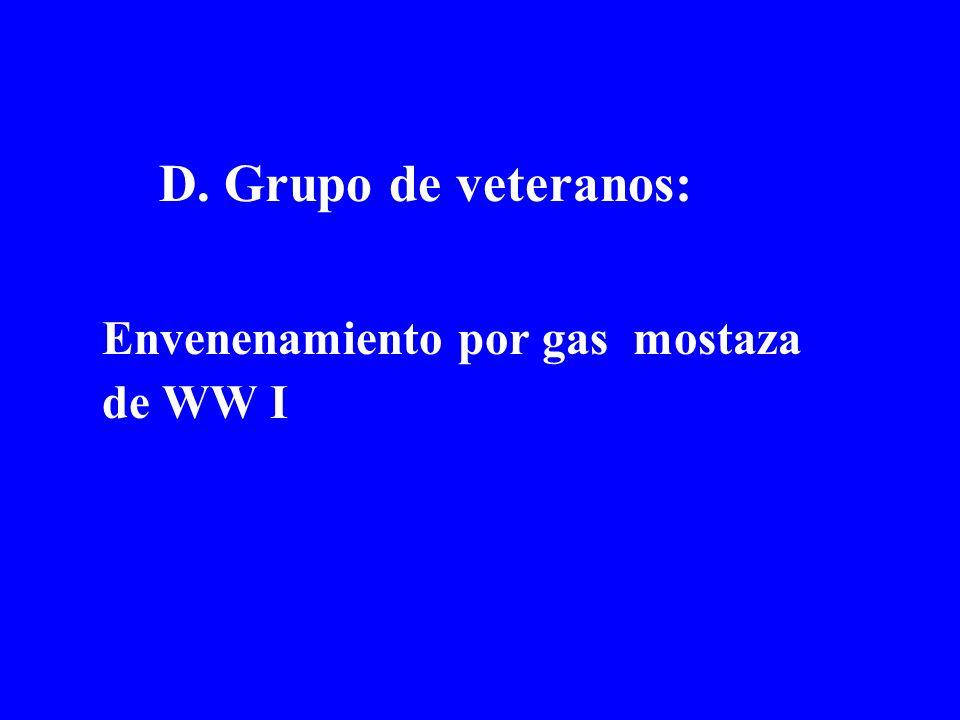 D. Grupo de veteranos: Envenenamiento por gas mostaza de WW I