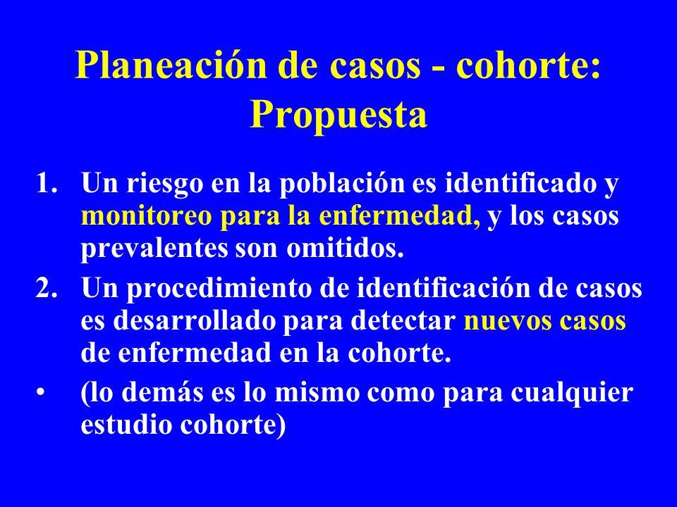 Planeación de casos - cohorte: Propuesta 1.Un riesgo en la población es identificado y monitoreo para la enfermedad, y los casos prevalentes son omitidos.