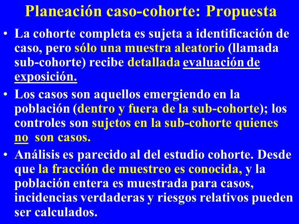 Planeación caso-cohorte: Propuesta La cohorte completa es sujeta a identificación de caso, pero sólo una muestra aleatorio (llamada sub-cohorte) recib