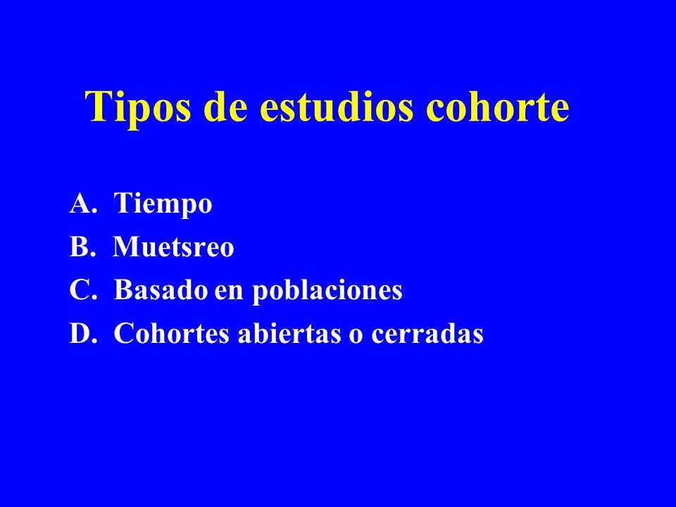 Tipos de estudios cohorte A. Tiempo B. Muetsreo C. Basado en poblaciones D. Cohortes abiertas o cerradas