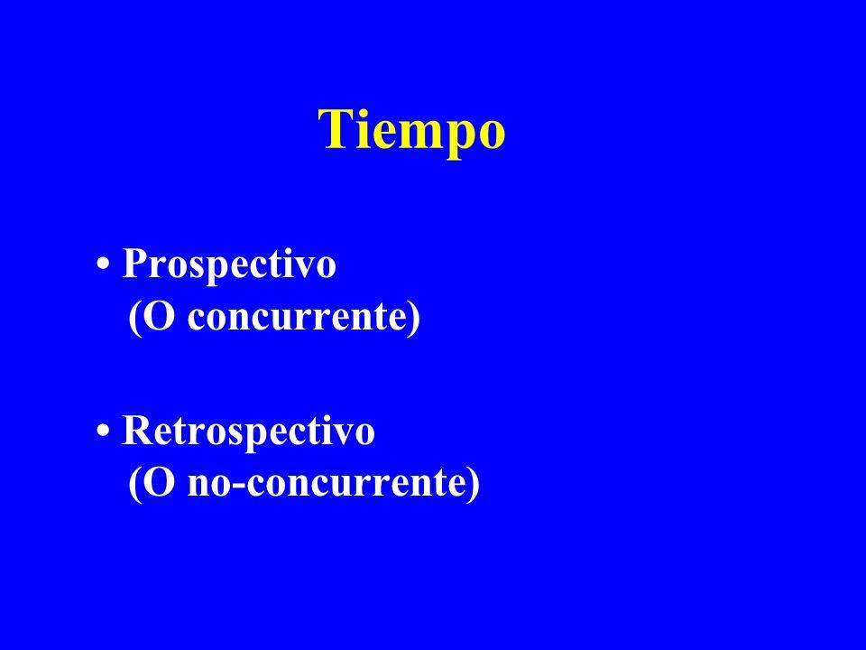 Tiempo Prospectivo (O concurrente) Retrospectivo (O no-concurrente)