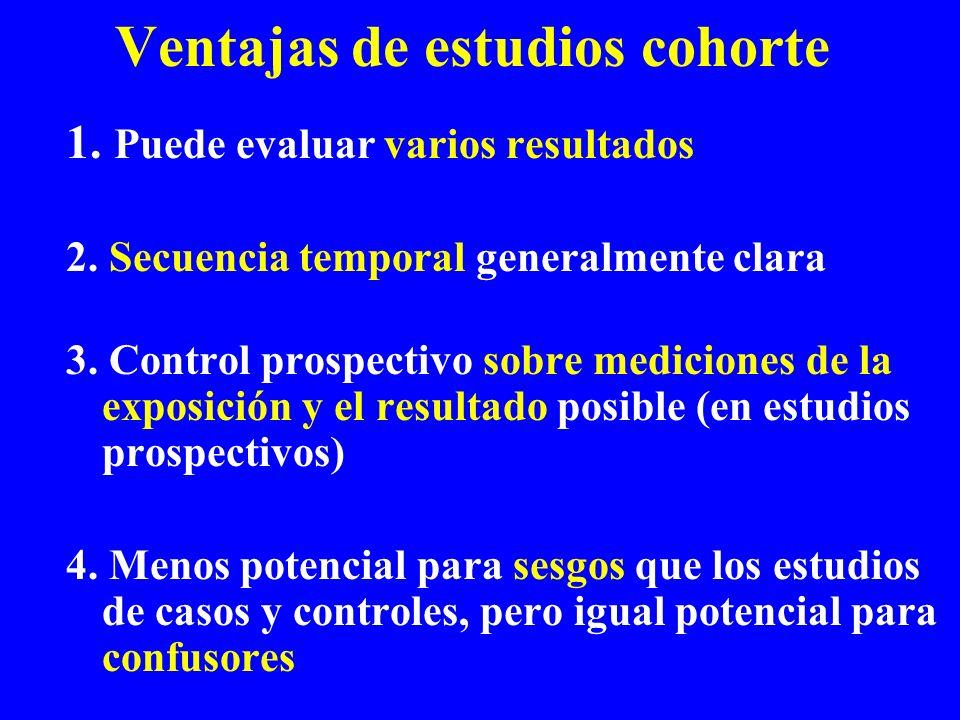 Ventajas de estudios cohorte 1. Puede evaluar varios resultados 2. Secuencia temporal generalmente clara 3. Control prospectivo sobre mediciones de la