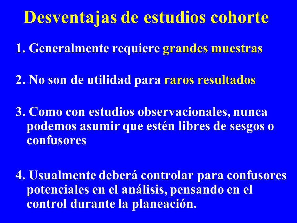 Desventajas de estudios cohorte 1. Generalmente requiere grandes muestras 2.