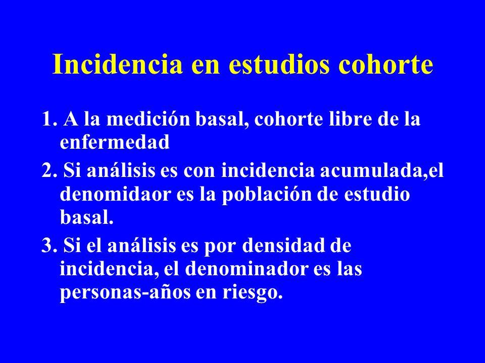 Incidencia en estudios cohorte 1. A la medición basal, cohorte libre de la enfermedad 2. Si análisis es con incidencia acumulada,el denomidaor es la p