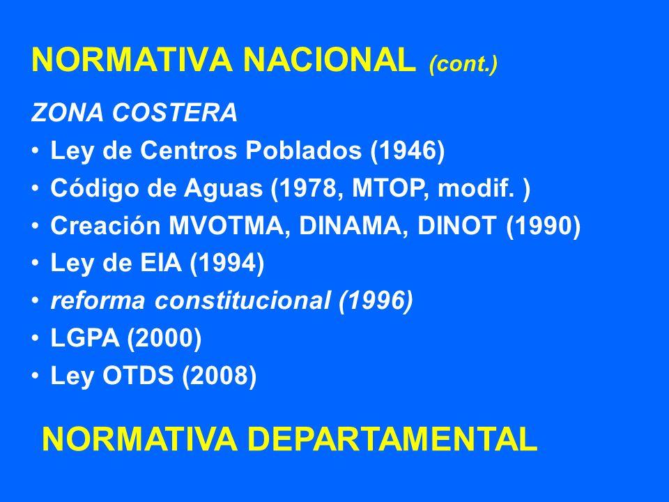 NORMATIVA NACIONAL (cont.) ZONA COSTERA Ley de Centros Poblados (1946) Código de Aguas (1978, MTOP, modif. ) Creación MVOTMA, DINAMA, DINOT (1990) Ley