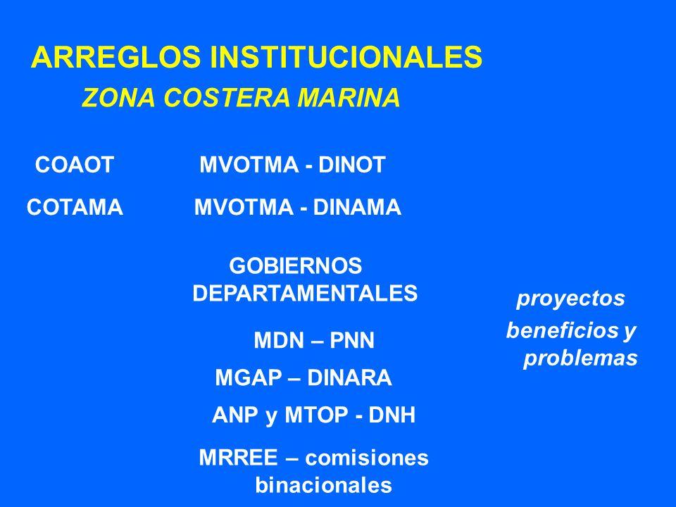 ARREGLOS INSTITUCIONALES ZONA COSTERA MARINA MVOTMA - DINOT MVOTMA - DINAMA MGAP – DINARA COAOT COTAMA MDN – PNN ANP y MTOP - DNH proyectos beneficios