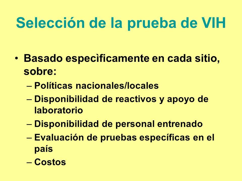 Selección de la prueba de VIH Basado especìficamente en cada sitio, sobre: –Políticas nacionales/locales –Disponibilidad de reactivos y apoyo de labor