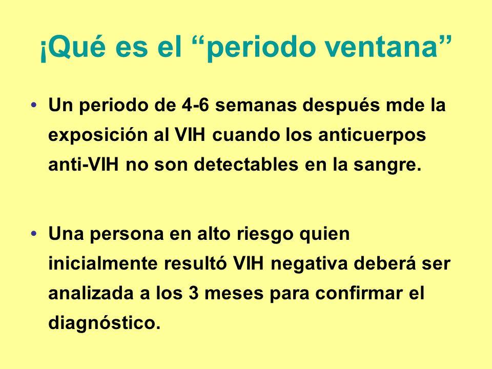 ¡Qué es el periodo ventana Un periodo de 4-6 semanas después mde la exposición al VIH cuando los anticuerpos anti-VIH no son detectables en la sangre.