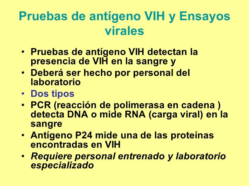 Pruebas de antígeno VIH y Ensayos virales Pruebas de antígeno VIH detectan la presencia de VIH en la sangre y Deberá ser hecho por personal del labora