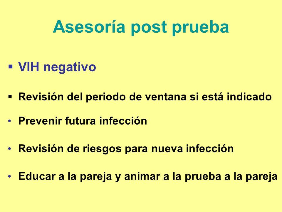 Asesoría post prueba VIH negativo Revisión del periodo de ventana si está indicado Prevenir futura infección Revisión de riesgos para nueva infección