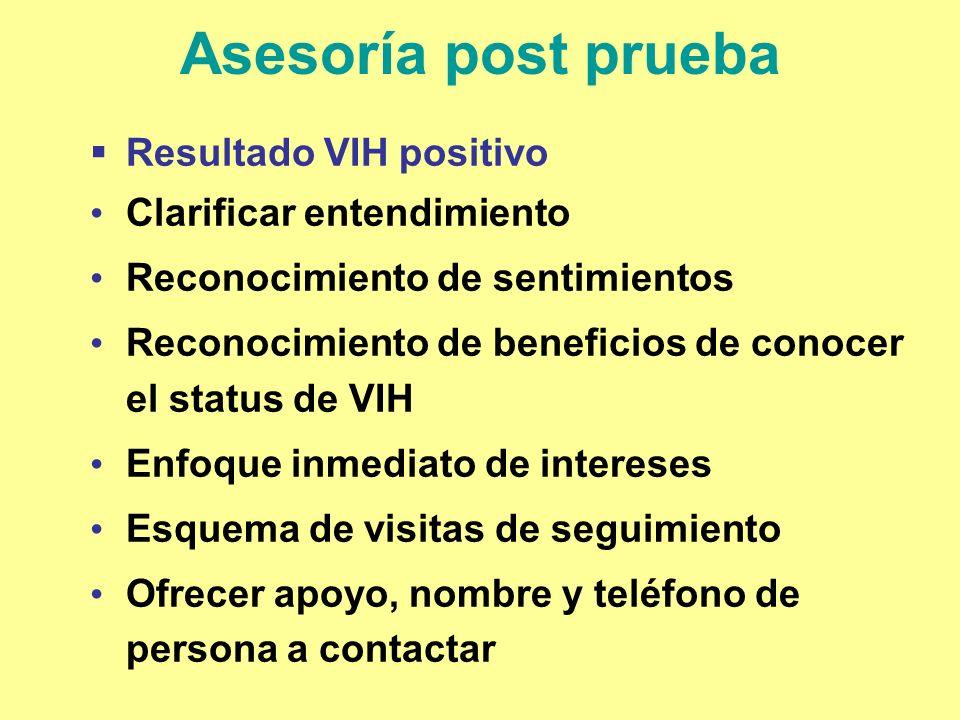 Asesoría post prueba Resultado VIH positivo Clarificar entendimiento Reconocimiento de sentimientos Reconocimiento de beneficios de conocer el status