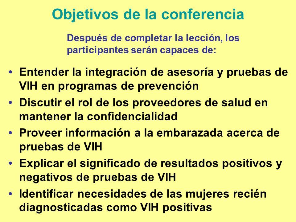 Objetivos de la conferencia Entender la integración de asesoría y pruebas de VIH en programas de prevención Discutir el rol de los proveedores de salu