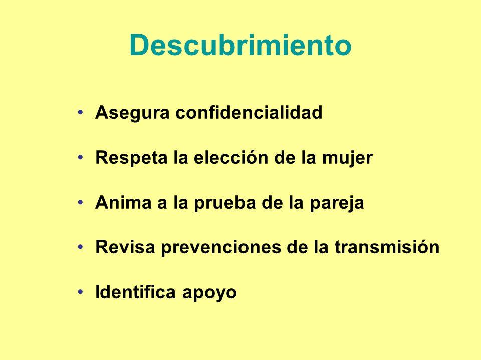 Descubrimiento Asegura confidencialidad Respeta la elección de la mujer Anima a la prueba de la pareja Revisa prevenciones de la transmisión Identific