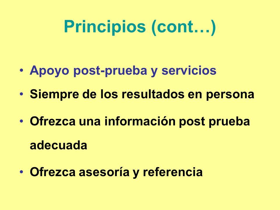 Principios (cont…) Apoyo post-prueba y servicios Siempre de los resultados en persona Ofrezca una información post prueba adecuada Ofrezca asesoría y