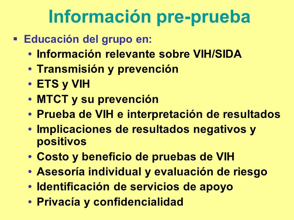 Información pre-prueba Educación del grupo en: Información relevante sobre VIH/SIDA Transmisión y prevención ETS y VIH MTCT y su prevención Prueba de