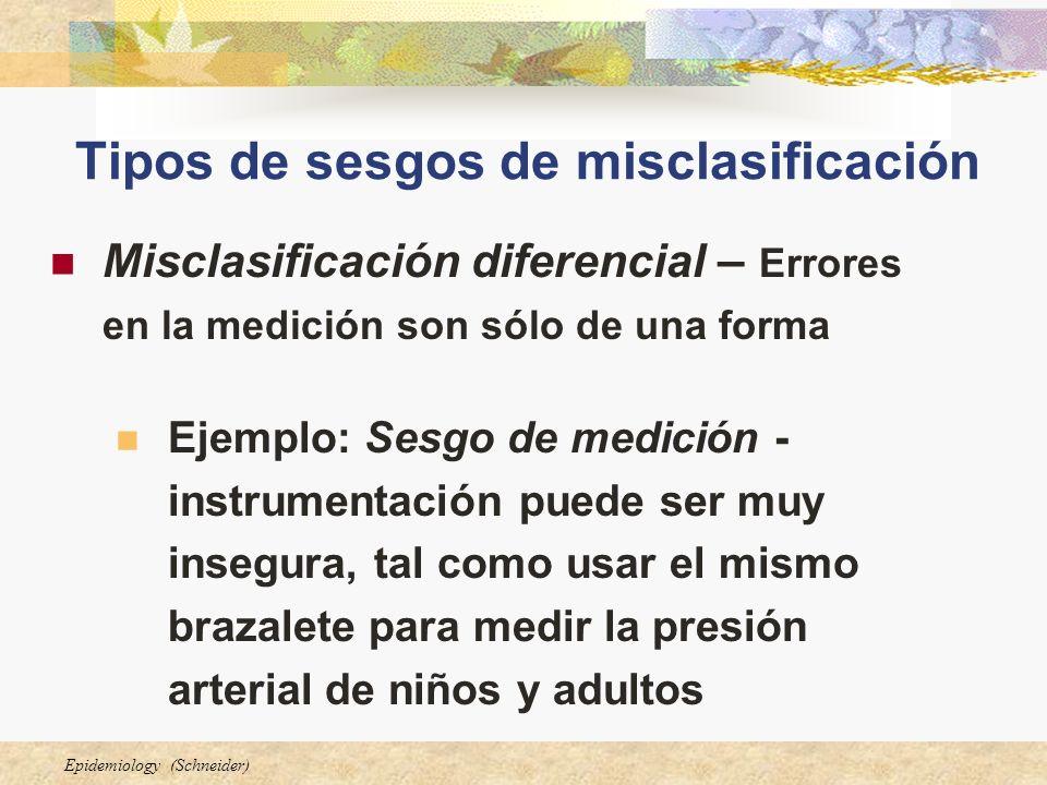Epidemiology (Schneider) Tipos de sesgos de misclasificación Misclasificación diferencial – Errores en la medición son sólo de una forma Ejemplo: Sesg