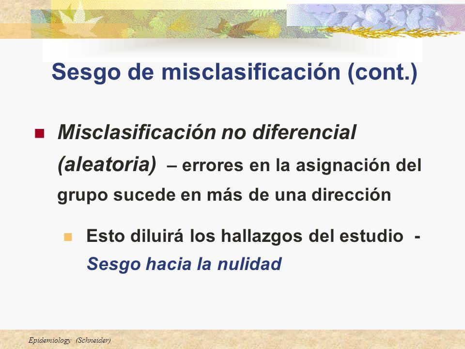 Epidemiology (Schneider) Sesgo de misclasificación (cont.) Misclasificación no diferencial (aleatoria) – errores en la asignación del grupo sucede en