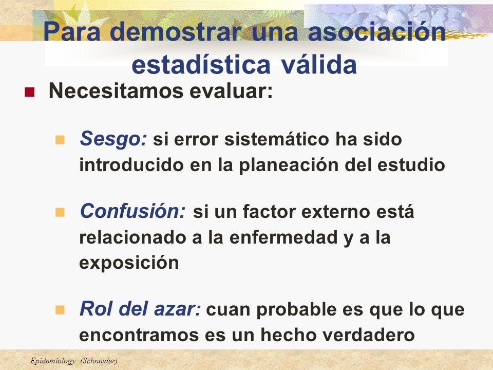 Epidemiology (Schneider) Para demostrar una asociación estadística válida Necesitamos evaluar: Sesgo: si error sistemático ha sido introducido en la p
