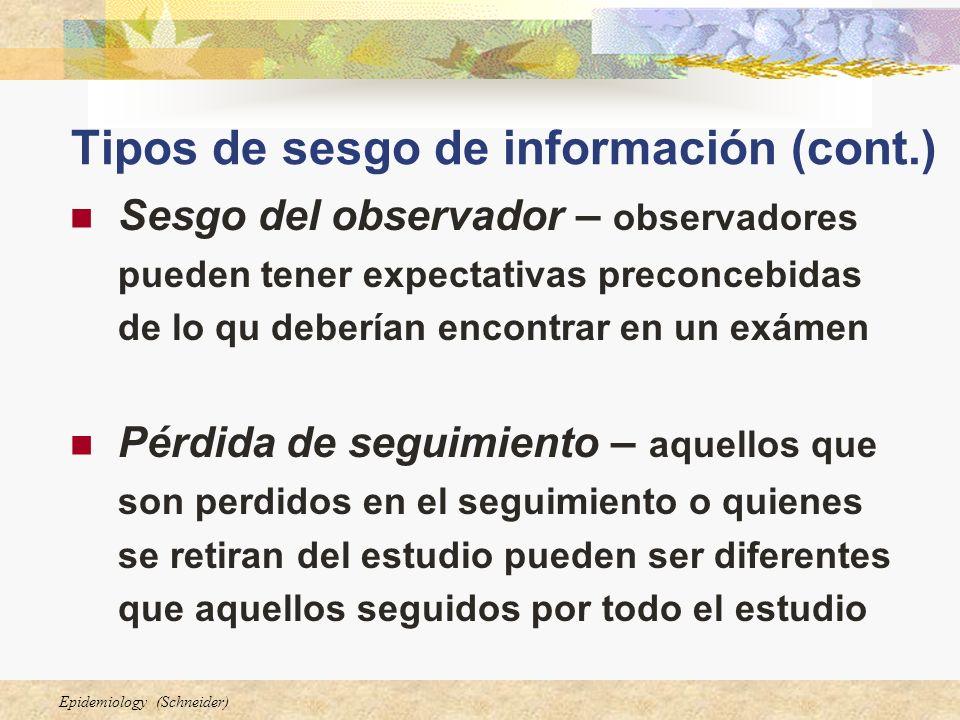 Epidemiology (Schneider) Tipos de sesgo de información (cont.) Sesgo del observador – observadores pueden tener expectativas preconcebidas de lo qu de