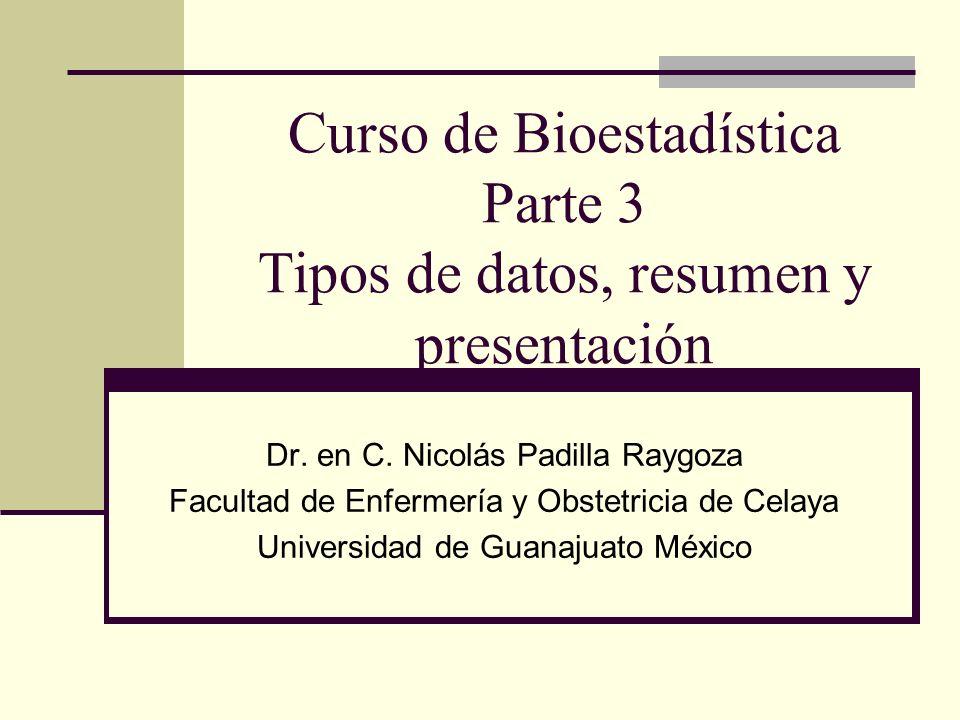 Curso de Bioestadística Parte 3 Tipos de datos, resumen y presentación Dr. en C. Nicolás Padilla Raygoza Facultad de Enfermería y Obstetricia de Celay