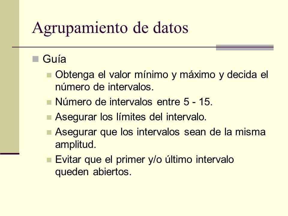 Agrupamiento de datos Guía Obtenga el valor mínimo y máximo y decida el número de intervalos. Número de intervalos entre 5 - 15. Asegurar los límites