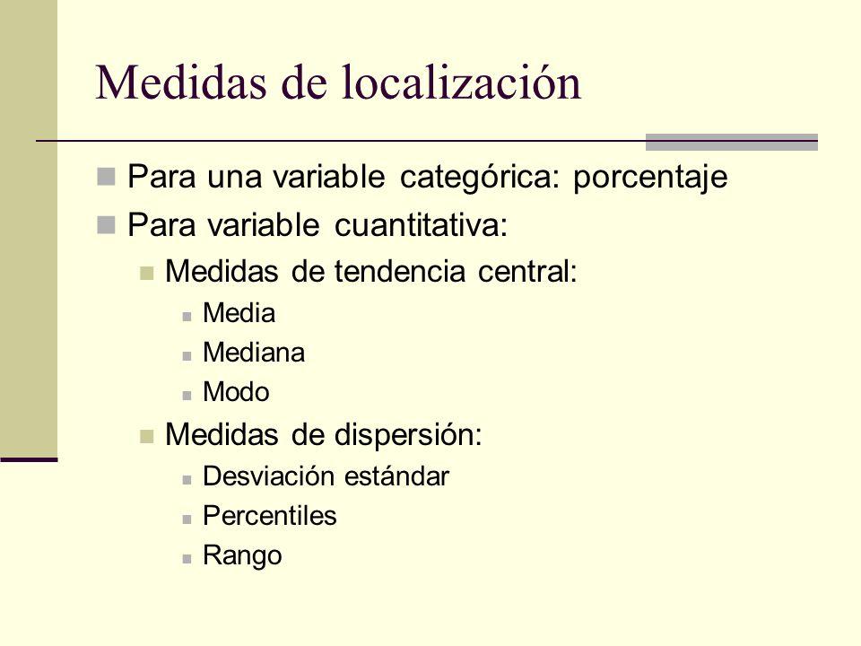 Medidas de localización Para una variable categórica: porcentaje Para variable cuantitativa: Medidas de tendencia central: Media Mediana Modo Medidas