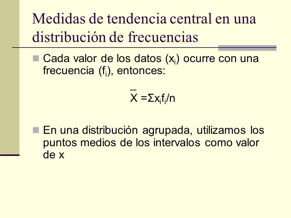 Medidas de tendencia central en una distribución de frecuencias Cada valor de los datos (x i ) ocurre con una frecuencia (f i ), entonces: En una dist