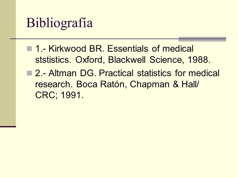 Bibliografía 1.- Kirkwood BR. Essentials of medical ststistics. Oxford, Blackwell Science, 1988. 2.- Altman DG. Practical statistics for medical resea