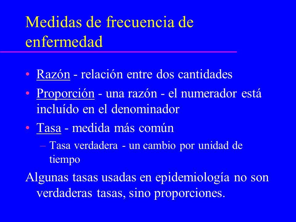 Medidas de frecuencia: Prevalencia Número de casos existentes de una enfermedad.