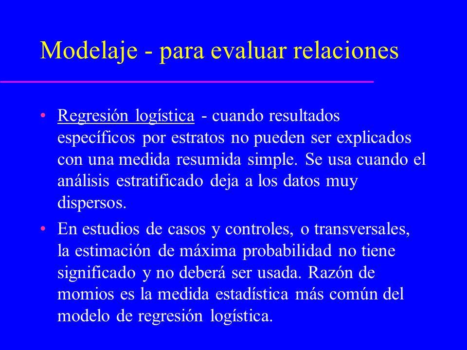Modelaje - para evaluar relaciones Análisis de sobrevida - procedmineto de modelaje más popular en epidemiología.