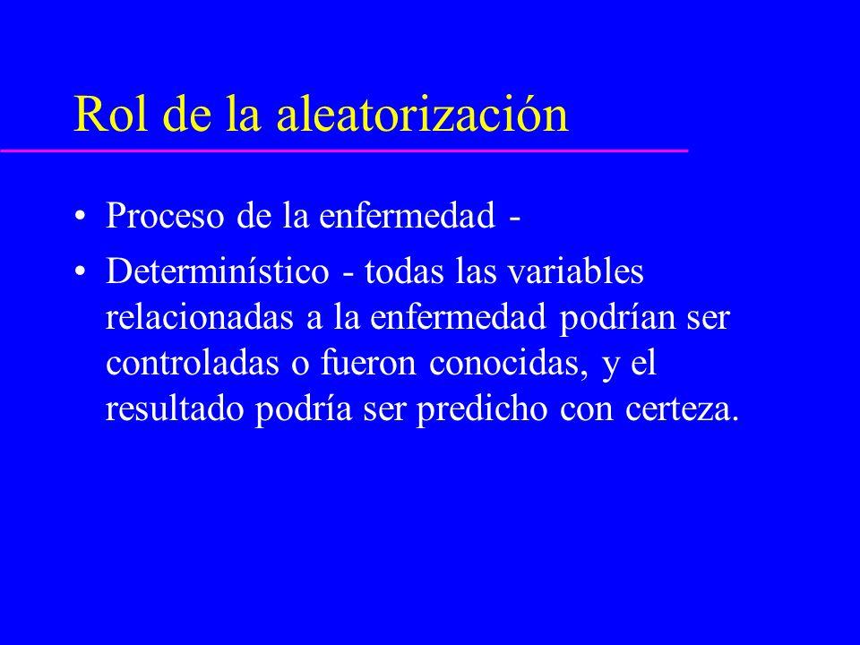 Rol de la aleatorización Sin embargo, fue descubierto que el resultado o enfermedad sigue un proceso estocástico (o aleatorio).