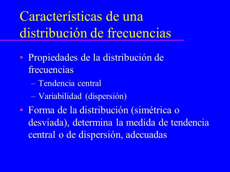 Medidas de tendencia central Media aritmética (más común) se prefiere ante distribuciones simétricas Mediana (valor medio de la distribución)- menos afectada por valores extremos o de las colas- medida preferida ante distribuciones sesgadas.