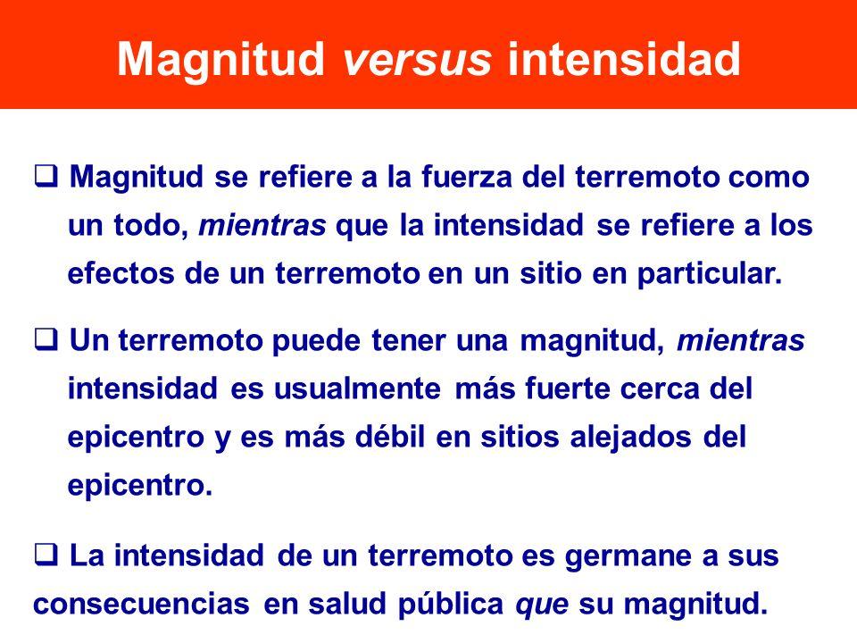 Magnitud se refiere a la fuerza del terremoto como un todo, mientras que la intensidad se refiere a los efectos de un terremoto en un sitio en particu