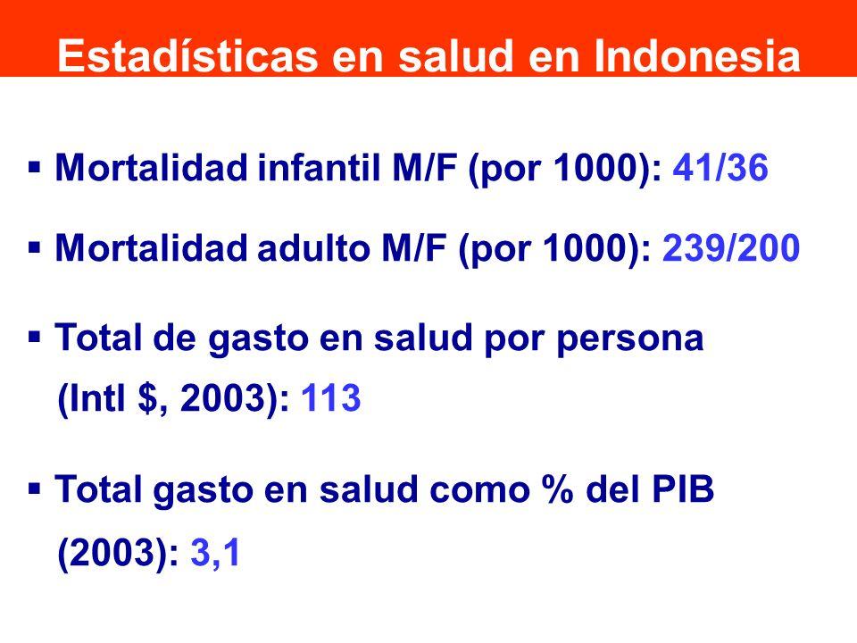Mortalidad infantil M/F (por 1000): 41/36 Mortalidad adulto M/F (por 1000): 239/200 Total de gasto en salud por persona (Intl $, 2003): 113 Total gast