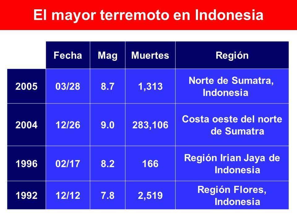 RegiónMuertesMagFecha Norte de Sumatra, Indonesia 1,3138.703/282005 Costa oeste del norte de Sumatra 283,1069.012/262004 Región Irian Jaya de Indonesi
