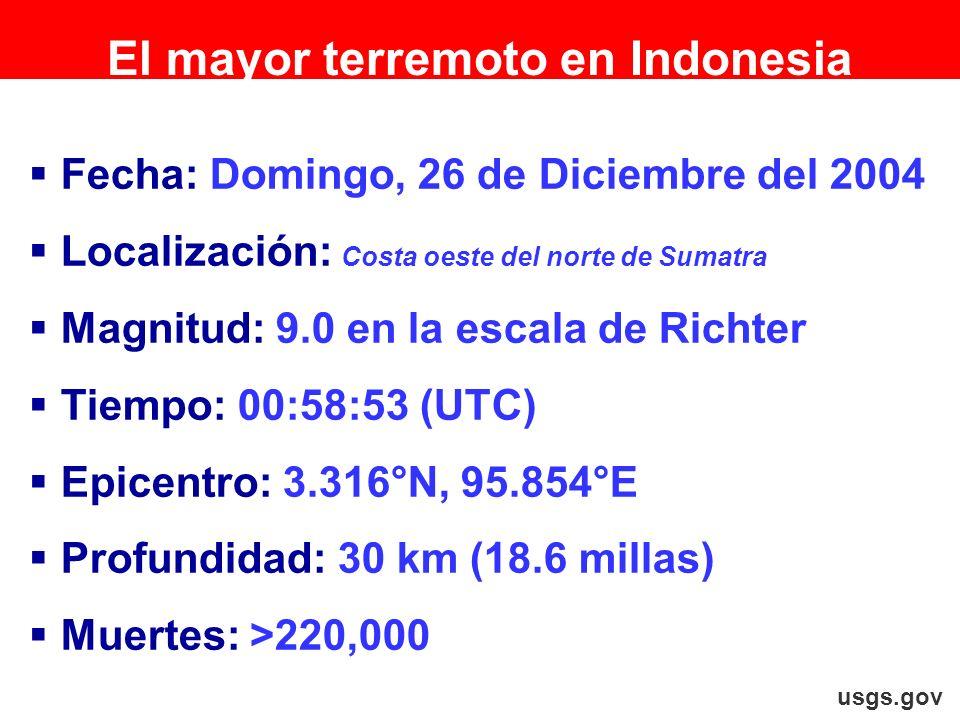 Fecha: Domingo, 26 de Diciembre del 2004 Localización: Costa oeste del norte de Sumatra Magnitud: 9.0 en la escala de Richter Tiempo: 00:58:53 (UTC) E