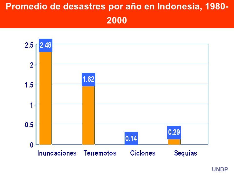 UNDP Promedio de desastres por año en Indonesia, 1980- 2000