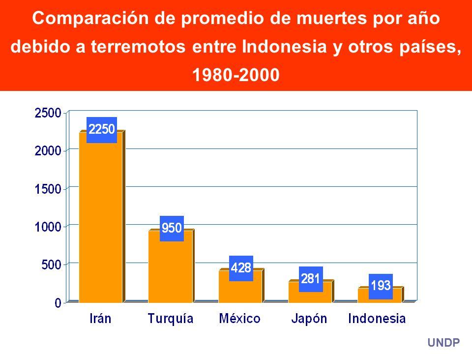 UNDP Comparación de promedio de muertes por año debido a terremotos entre Indonesia y otros países, 1980-2000