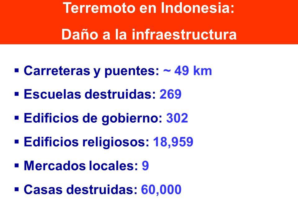 Carreteras y puentes: ~ 49 km Escuelas destruidas: 269 Edificios de gobierno: 302 Edificios religiosos: 18,959 Mercados locales: 9 Casas destruidas: 6